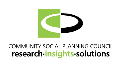 Community Social Planning Council Logo in Green, White, and Black