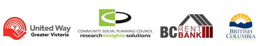 United Way, Community Social Planning Council, BC Rent Bank, and Province of BC Logos