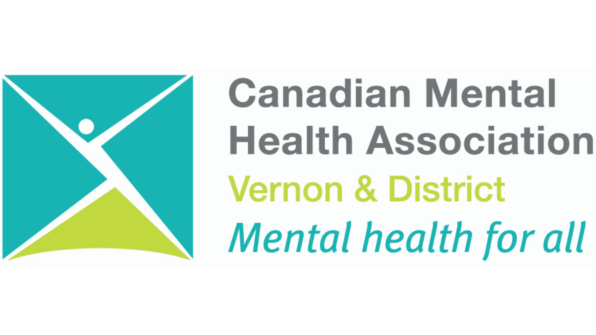 CMHA Logo with abstracted human figure made out of brand colours turquoise and lime green colour blocks